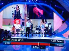 Ethan Burch's parody is featured on the bottom left of the screen during Carly Rae Jepsen's performance of Call Me Maybe at the 2012 Teen Choice Awards.(Photo provided)