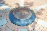 A time capsule is buried beneath the Centennial Medallion in the Alumni Plaza. (Photo by Christian Herrera)